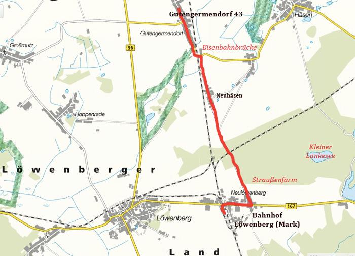 Karte Löwenberger Land